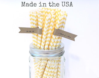 100 Paper Straws, Yellow Chevron Drinking Straws, Rustic Wedding, Paper Goods, Table Setting, Party Supplies Vintage Baby Shower Made in USA