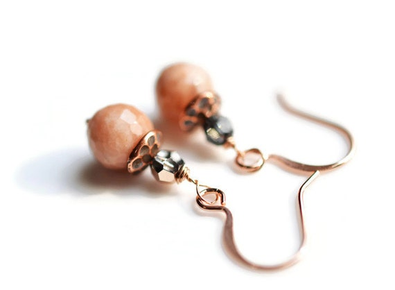 Sunstone Earrings, Rose Gold Swarosvki Earrings, Gemstone Earrings, Sunstone Jewelry