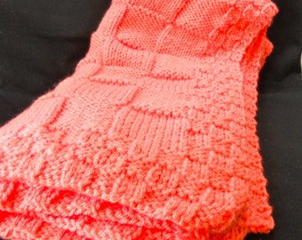 Coral baby blanket hand knitted and so soft