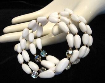 Vintage Milk Glass and Crystal Bead Memory Wrap Bracelet