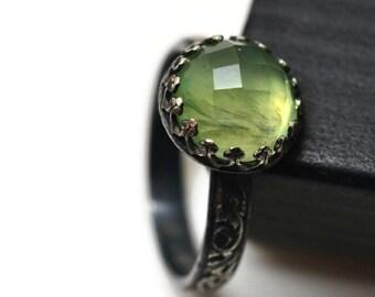 10mm Prehnite Ring, Oxidized Silver, Green Gemstone Renaissance Ring, Engagement Ring
