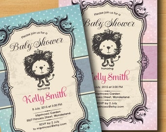 Lion baby shower baby boy baby girl invitation Retro Rustic invitation vintage or kids birthday 2colors to choose from - card 294