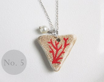 CUSTOM Red Coral Sea Pottery Necklace No 5, Real Coral Bead, Nautical Jewelry