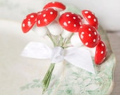 Spun Cotton Mushrooms - One Dozen Stems, 3/4 Inch Tall, Vintage Red Toadstools, Made in Germany