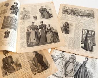 4 Antique French Fashion Publications 'La Mode Illustre'  Originals Not Reprints
