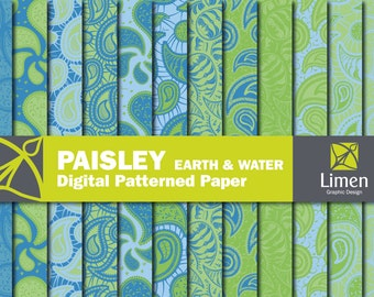Blue Green Paisley Digital Paper Pack, Paisley Paper, Paisley Pattern, Paisley Scrapbook Paper, Paisley Background, Digital Paisley