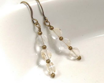 Pale Lemon Stacked Faceted Round Citrine Gemstone Antiqued Bronze Dangle Earrings