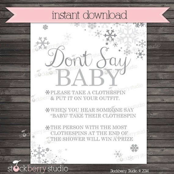 Items Similar To Winter Wonderland Baby Shower Donu0027t Say Game Printable    Silver And Gray Snowflakes Baby Shower Clothes Pin Game   Neutral Baby  Shower ...