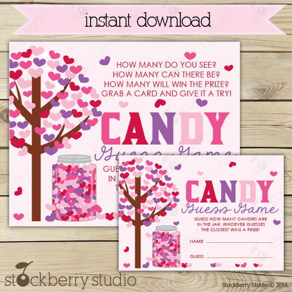 valentine's day candy guessing game printable instant, Ideas