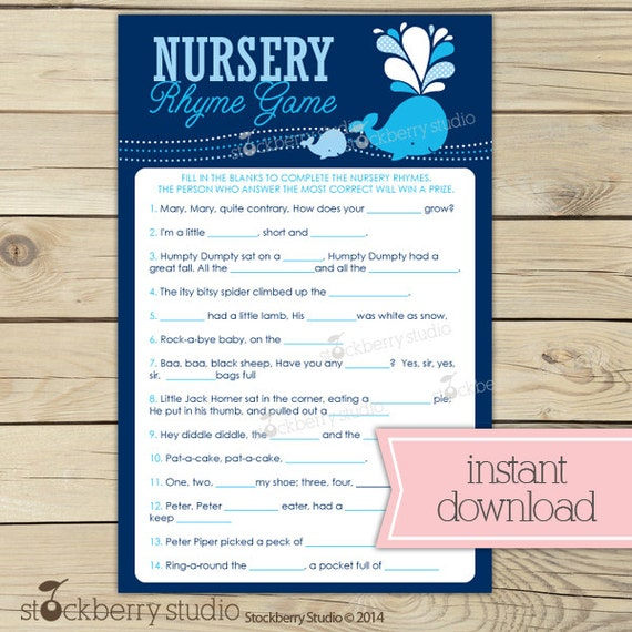 Whale Baby Shower Nursery Rhyme Game Printable by ...