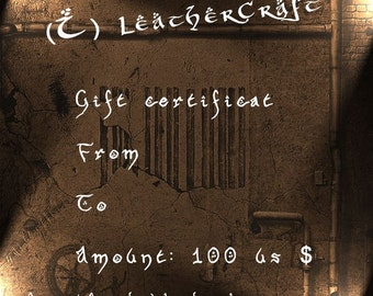 Gift Certificate - (I) LeatherCraft - Gift Card - 100 USD