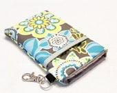 Custom fabric cell phone holder, iPhone 6 6s Plus, iPhone 7 plus, 5 5s 5c 4s 4 smartphone, wallet, case, purse, sleeve, pouch-Floral Grey