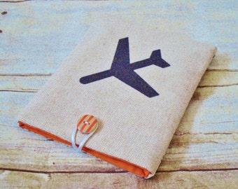 Passport Cover / Airplane / map fabric / travel pouch / passport sleeve / travel accessory - airplane cover - passport sleeve - travel pouch