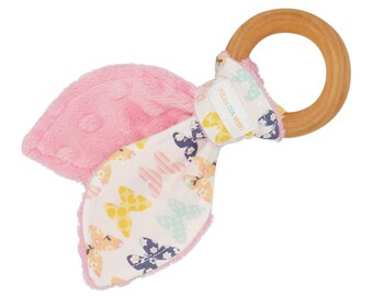 SAVE 25%- Coupon -FALL25- Natural Organic Maple Wooden Teething Ring Toy - Bunny Ears in Butterfly Fabric and Pink Minky