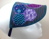Houndstooth Hexagon Zig Zag and Floral Stitched Sun Visor with Elastic Strap