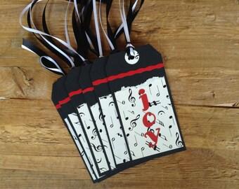 Gift Tags, Set of 6, Joy, Hang Tags, Holidays, Music, Christmas