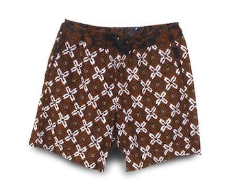 Batik Mens Clothing, Festival Short, Mens Short, Festival Clothing, Mens Casual Short Pullon, Brown Batik Short