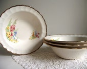 Floral Bowls | Sovereign Potters Bowls | Set of 4 Earthenware Bowls | Floral Hollyhocks | Soup Salad Dessert Bowls | Cottage Chic