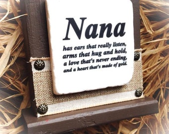 Nana Sign , Stone and Wood Block Plaque with Platform and Burlap Accent ,  Mimi Gigi Meme Meme , Etc , Choose Your Name or Quote