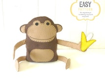 Felt Monkey Pattern, Hand Sewing Plush Monkey Softie, Instant Download PDF, Monkey & Banana Stuffie Pattern