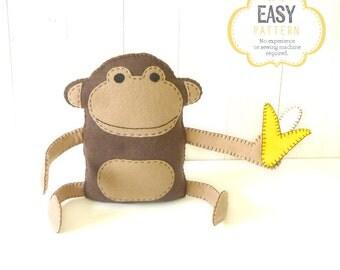 Felt Monkey Pattern, Hand Sewing Plush Monkey Softie, Instant Download PDF, Monkey & Banana Stuffie Pattern