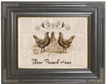 3 French hens Christmas wall art print on dictionary or music page Dictionary art print wall decor Digital print Chicken Farm print 778