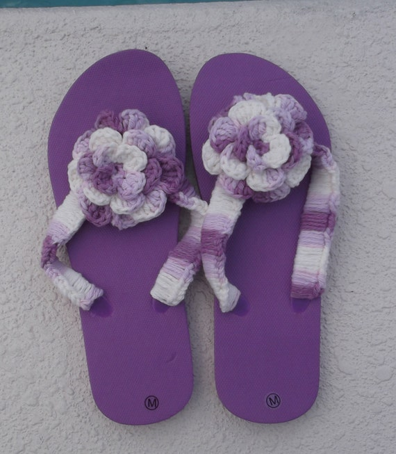 Flip Flops Purple Flip Flops Flower Flips Flops Womens Purple Flip Flops size Medium 7 - 8