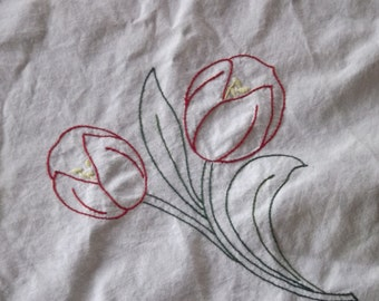 Embroidered Flowers in the Corner Vintage Tablecloth