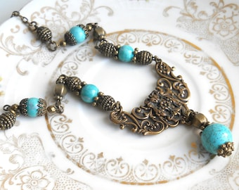 victorian necklace turquoise pendant necklace gemstone necklace vintage style necklace chalky turquoise necklace stone necklace