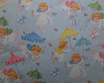 Vintage Angels From Heaven Umbrellas Baby Shower Gift Wrap Wrapping Paper