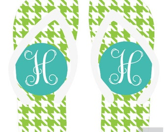 HOUNDSTOOTH personalized monogram flip flops for adults and kids