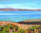 San Diego Sailboats - Landscape Painting Original Oil