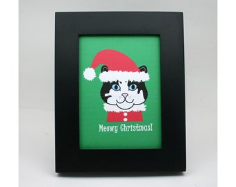Christmas cat print, Santa kitty decoration, Meowy Christmas, red, green, chat, gato, kitty elf, pussy cat xmas, holiday greeting, cat lover