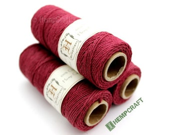 Hemp Twine, Cranberry Red 1mm Burgundy Colored Hemp Craft Cord