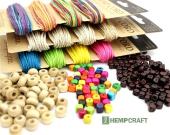 Hemp and Beads Combo, Hemp Cord and Wood Beads, Choose Your Colors