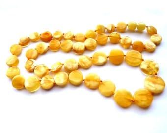 Baltic Amber Butterscotch Necklace Flat Beads 24.5″ 18.4 gram