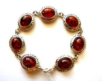Baltic Amber Jewelry Silver Bracelet Cognac 7″ 925 Silver
