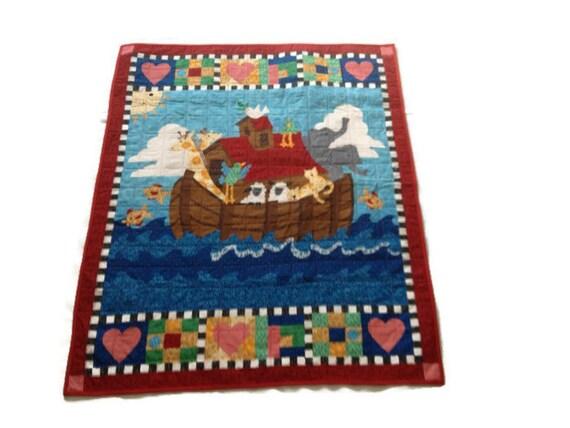 Bedding noah 39 s ark handmade quilt primary colors baby for Primary color baby bedding
