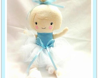 "Customized ballerina doll plush stuffed toy girl 15"" custom plushee softee custom OOAK One of a kind"