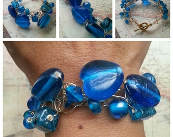 SALE. Bright Blue Wire Crocheted Bracelet. Blue Glass Hearts. Something Blue
