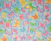 Pastel Glitter Butterflies on Blue Surgical Scrub Top / X Small - XX Large
