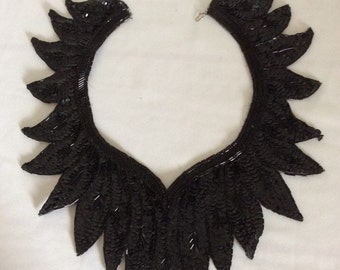 Dressy black seguin collar vintage collar for sweaters and tops Reduced!