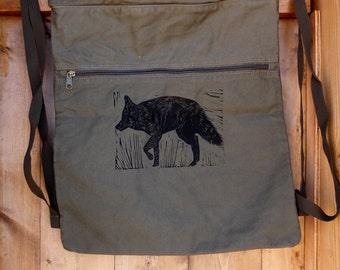Coffee Cinch Bag with Coyote linocut