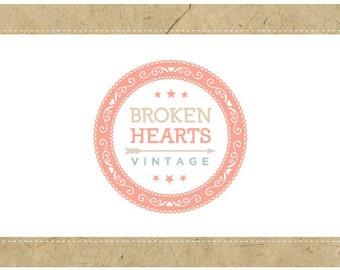 SALE PreDesigned Custom Vector Logo Design BROKEN HEARTS Logo - Custom Business Branding