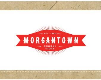 PreDesigned Custom Vector Logo Design  -  MORGANTOWN Logo - Custom Business Branding - Custom Brand Design - Vintage Modern Logo -Retro Logo