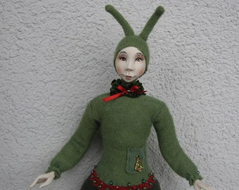 Bunny doll - Art doll- OOAK doll- Paper clay doll- Handmade doll-Air dry clay doll- Collecting doll