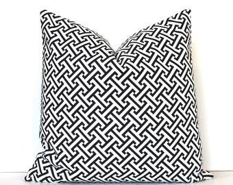 Black Trellis Geometric Designer Pillow Accent Cushion Cover hollywood regency imperial lattice ivory cream modern BW jet onyx ebony coal