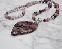 Spiritual Love - Natural Violet Stone and Crystal Crown Chakra Balancing Necklace with Russian Charoite Heart Pendant