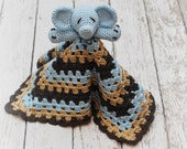 Elephant Lovey, Blue and Brown Elephant Security Blanket, Blankie, MADE TO ORDER