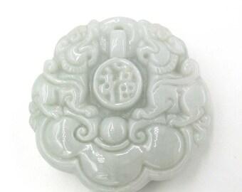 Natural Jadeite Gem Carved Twin Pi-Xiu Ru-Yi Fortune Fu Amulet Pendant 49mm*49mm*12mm  Cy103